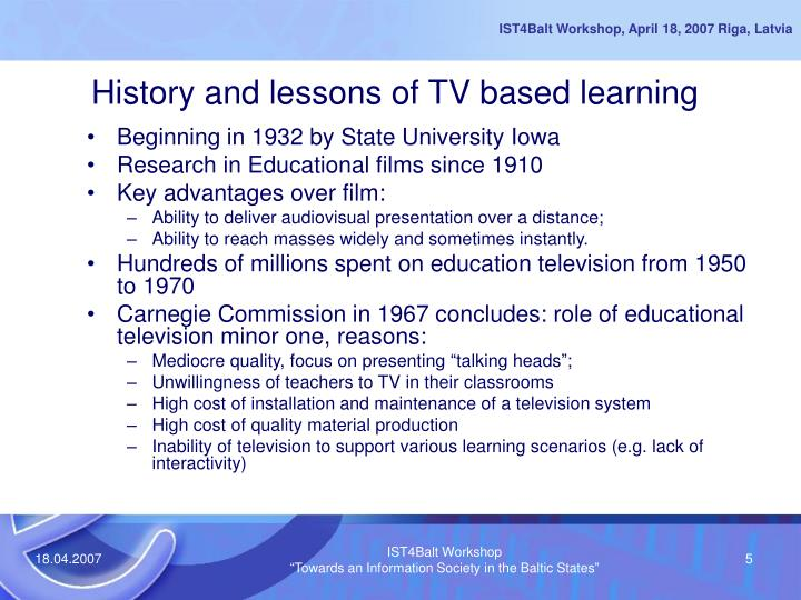 History and lessons of TV based learning