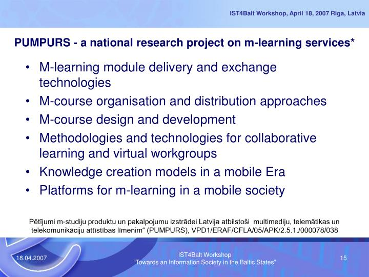 PUMPURS - a national research project on m-learning services