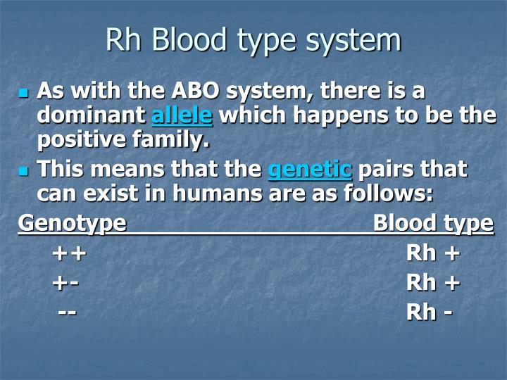 Rh Blood type system
