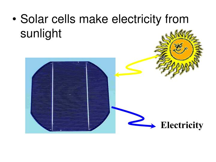 Solar cells make electricity from sunlight