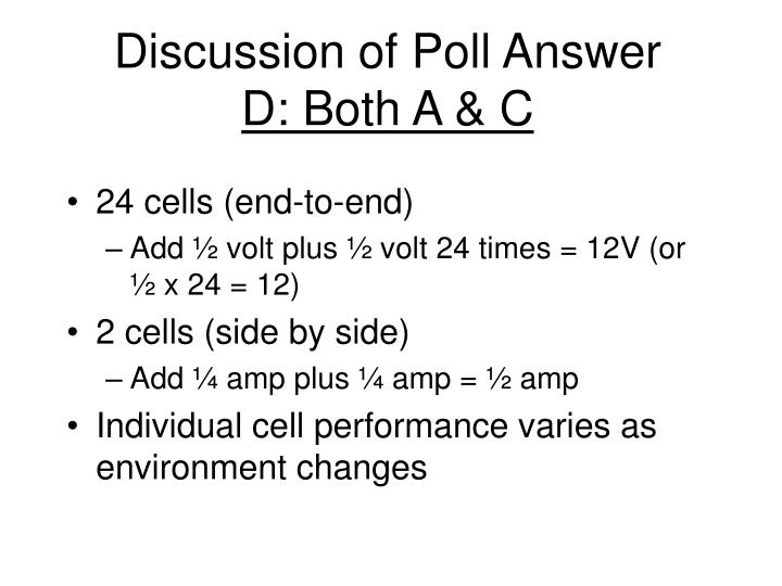Discussion of Poll Answer