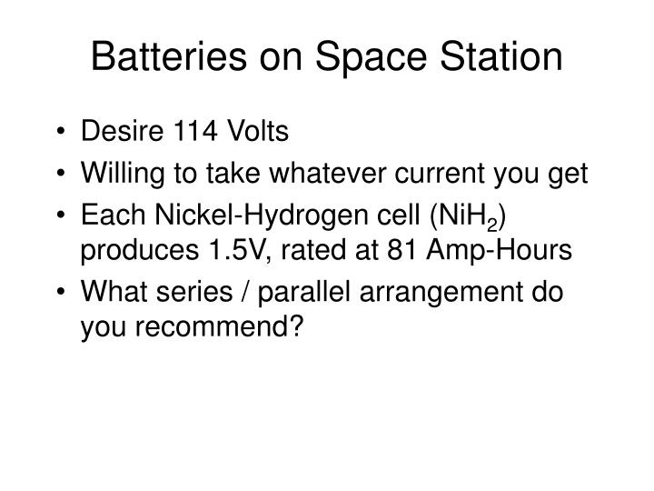 Batteries on Space Station