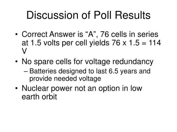 Discussion of Poll Results