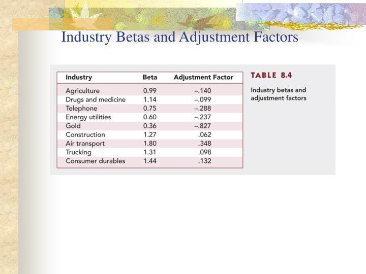 Industry Betas and Adjustment Factors