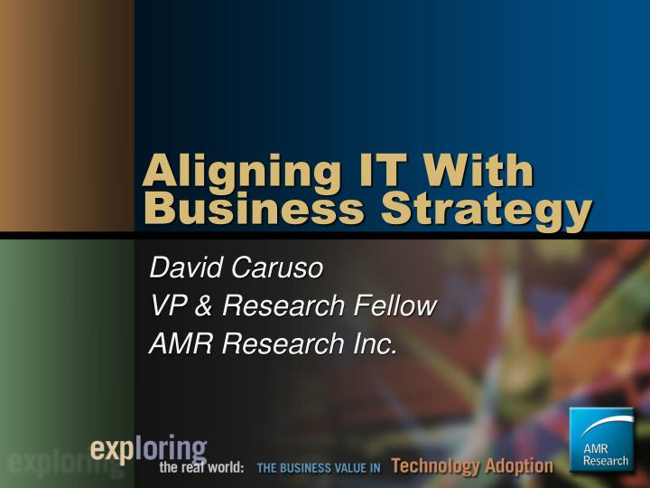 Aligning it with business strategy