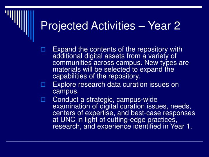 Projected Activities – Year 2