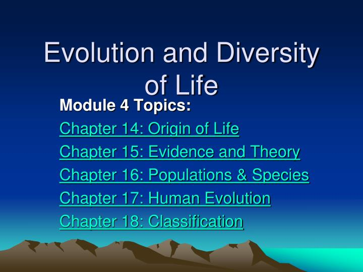 evolution and diversity of life n.