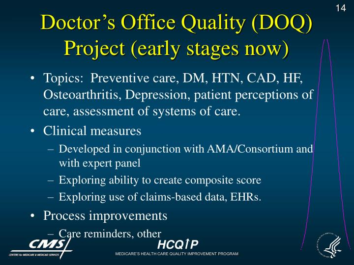 Doctor's Office Quality (DOQ) Project (early stages now)