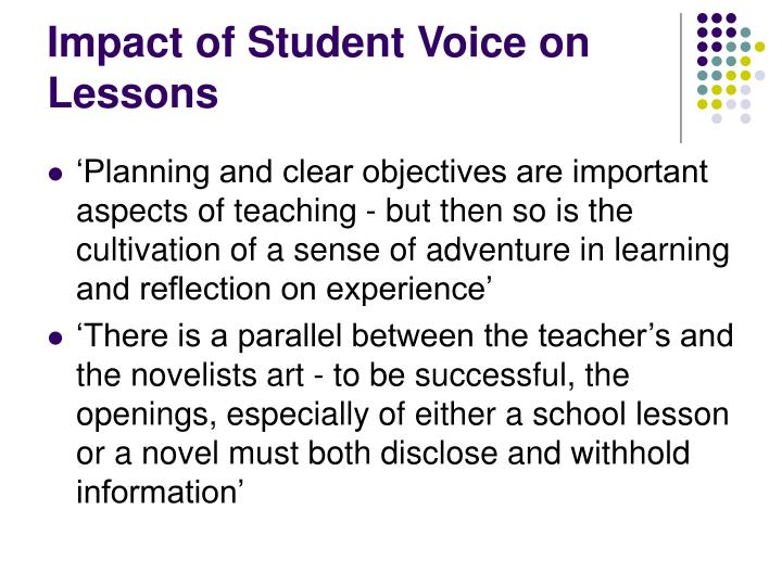 Impact of Student Voice on Lessons