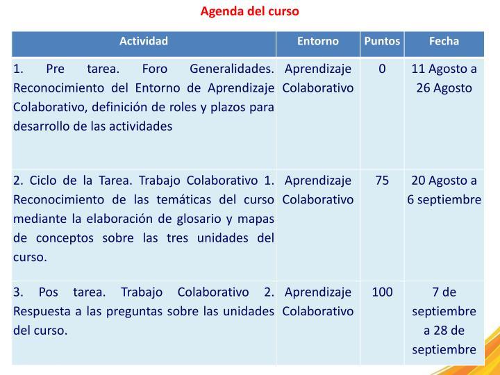 Agenda del curso