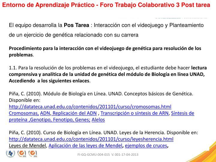 Entorno de Aprendizaje Práctico - Foro Trabajo Colaborativo 3