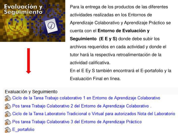 Para la entrega de los productos de las diferentes actividades realizadas en los Entornos de Aprendizaje Colaborativo y Aprendizaje Práctico se cuenta con el