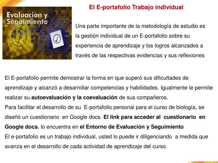 El E-portafolio Trabajo individual