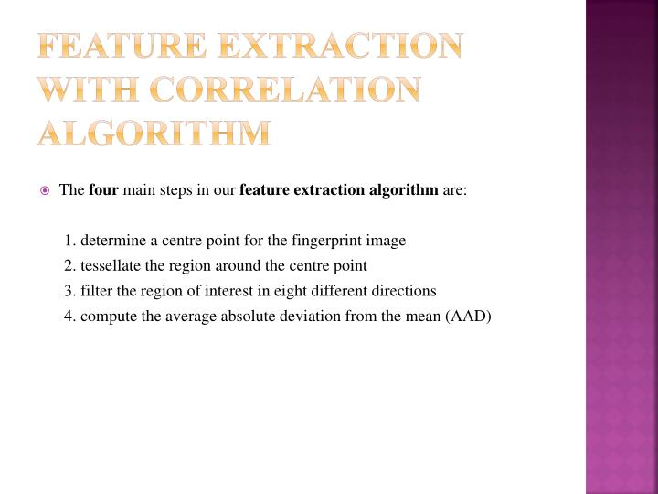 Feature Extraction with Correlation Algorithm