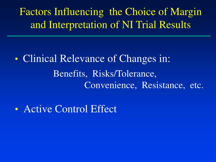 Factors Influencing  the Choice of Margin