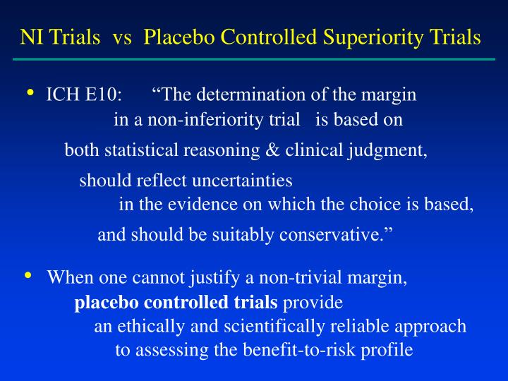 NI Trials  vs  Placebo Controlled Superiority Trials