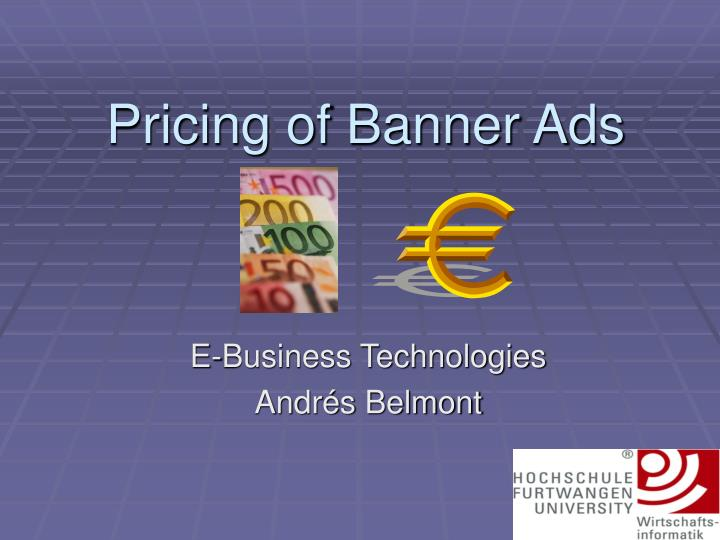pricing of banner ads n.