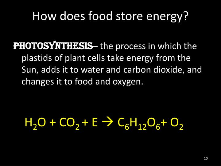 How does food store energy?