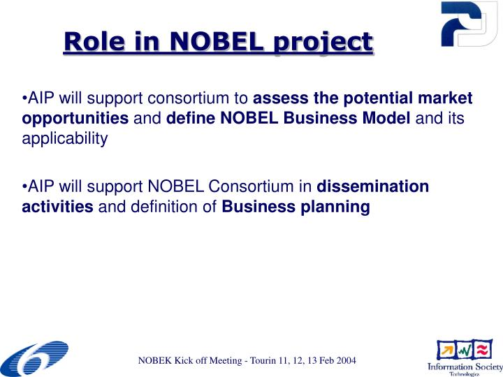 Role in nobel project