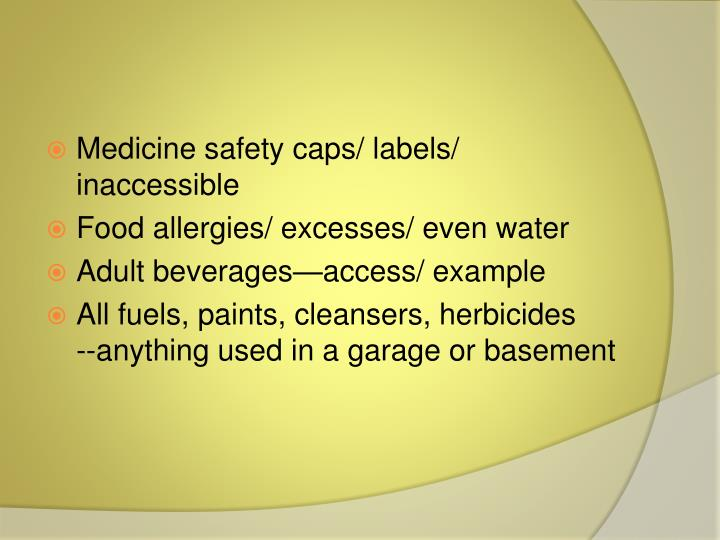 Medicine safety caps/ labels/ inaccessible