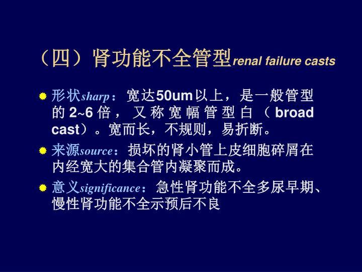 (四)肾功能不全管型