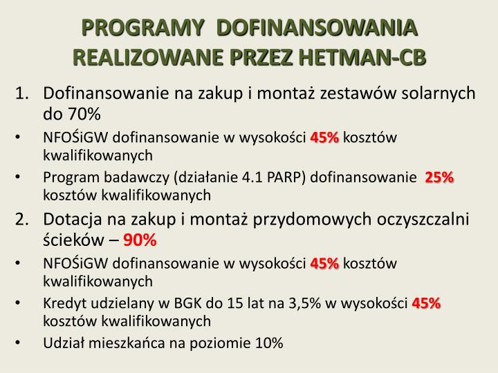 Programy dofinansowania realizowane przez hetman cb
