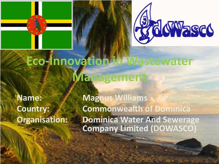 eco innovation in wastewater management n.