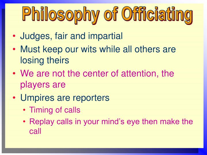 Philosophy of Officiating