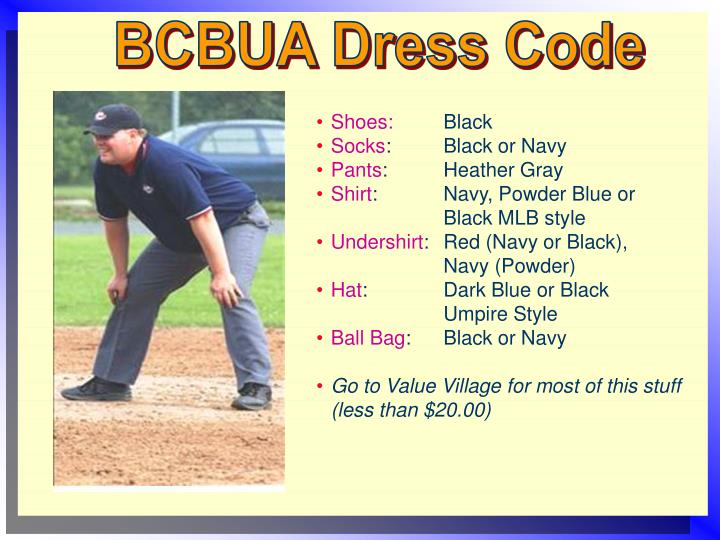 BCBUA Dress Code