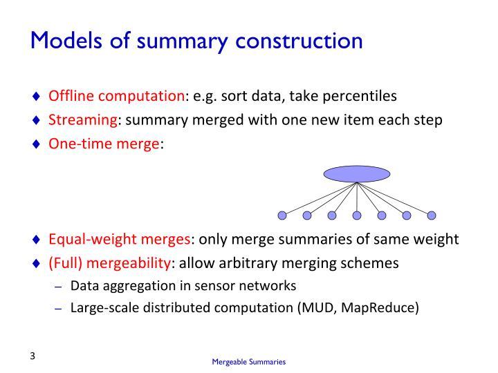 Models of summary construction