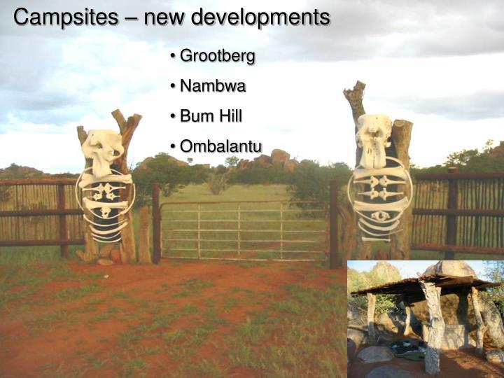 Campsites – new developments