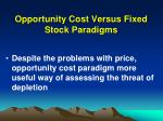 opportunity cost versus fixed stock paradigms