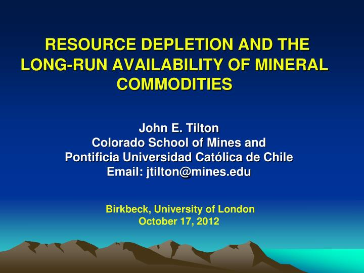 resource depletion and the long run availability of mineral commodities n.