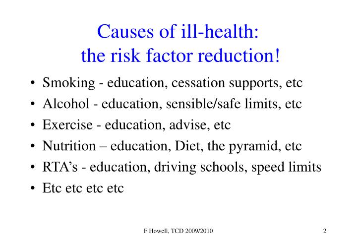 Causes of ill health the risk factor reduction