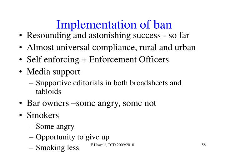 Implementation of ban