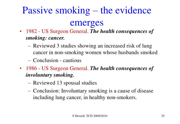 Passive smoking – the evidence emerges