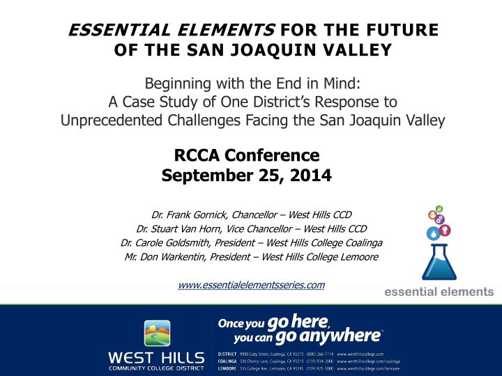 essential elements for the future of the san joaquin valley