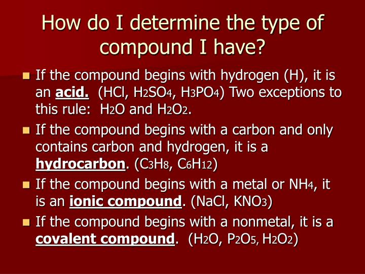 How do I determine the type of compound I have?