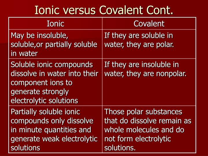 Ionic versus Covalent Cont.