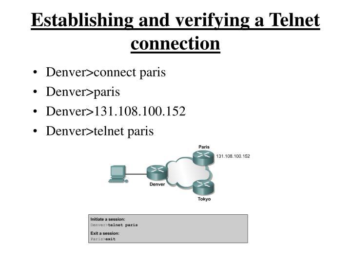 Establishing and verifying a Telnet connection