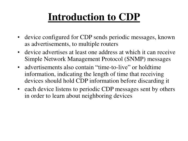 Introduction to cdp1