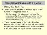 converting chi square to a p value