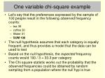one variable chi square example
