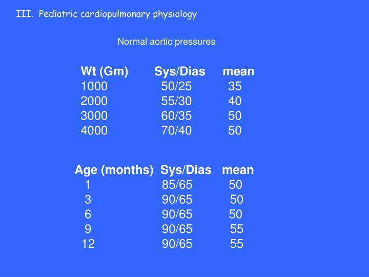 III.  Pediatric cardiopulmonary physiology
