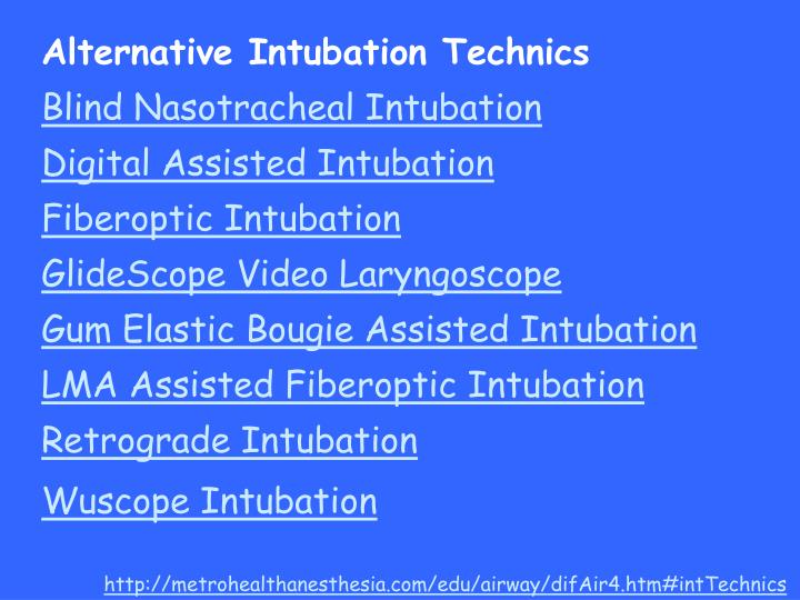Alternative Intubation Technics