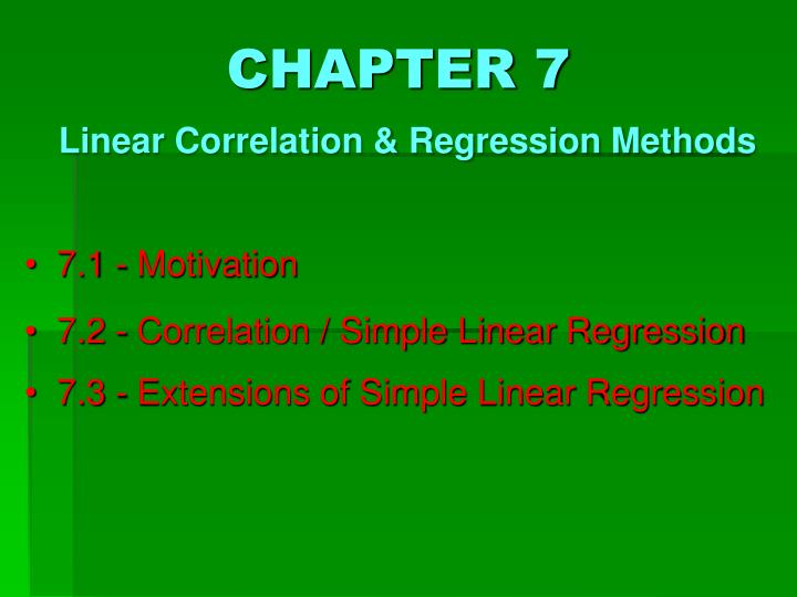 chapter 7 linear correlation regression methods n.