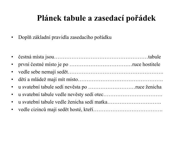 Plánek tabule a zasedací pořádek