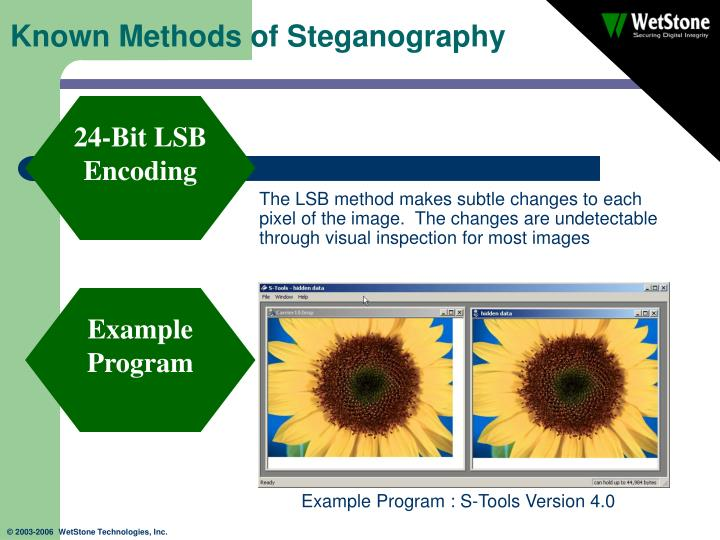 """steganography uses methods tools and examples Introduction steganography comes from the greek word meaning """"covered writing"""" dictionarycom defines steganography as the hiding of a message within another so that the presence of the hidden message is indiscernible the key concept behind steganography is that the message to be transmitted is not detectable to the casual eye."""
