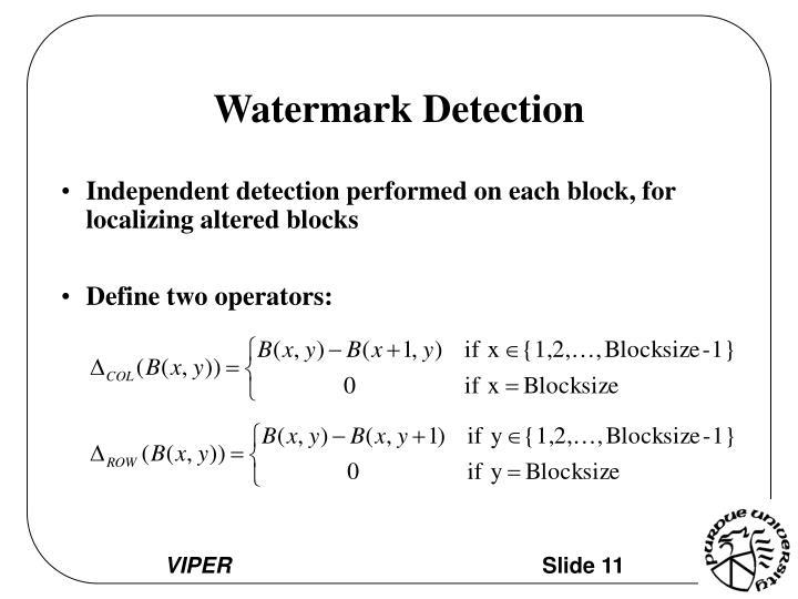 Watermark Detection