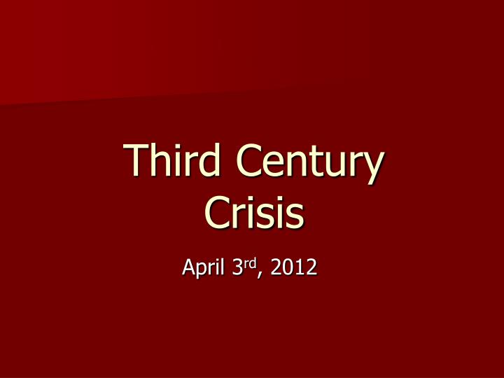 the crisis of the third century